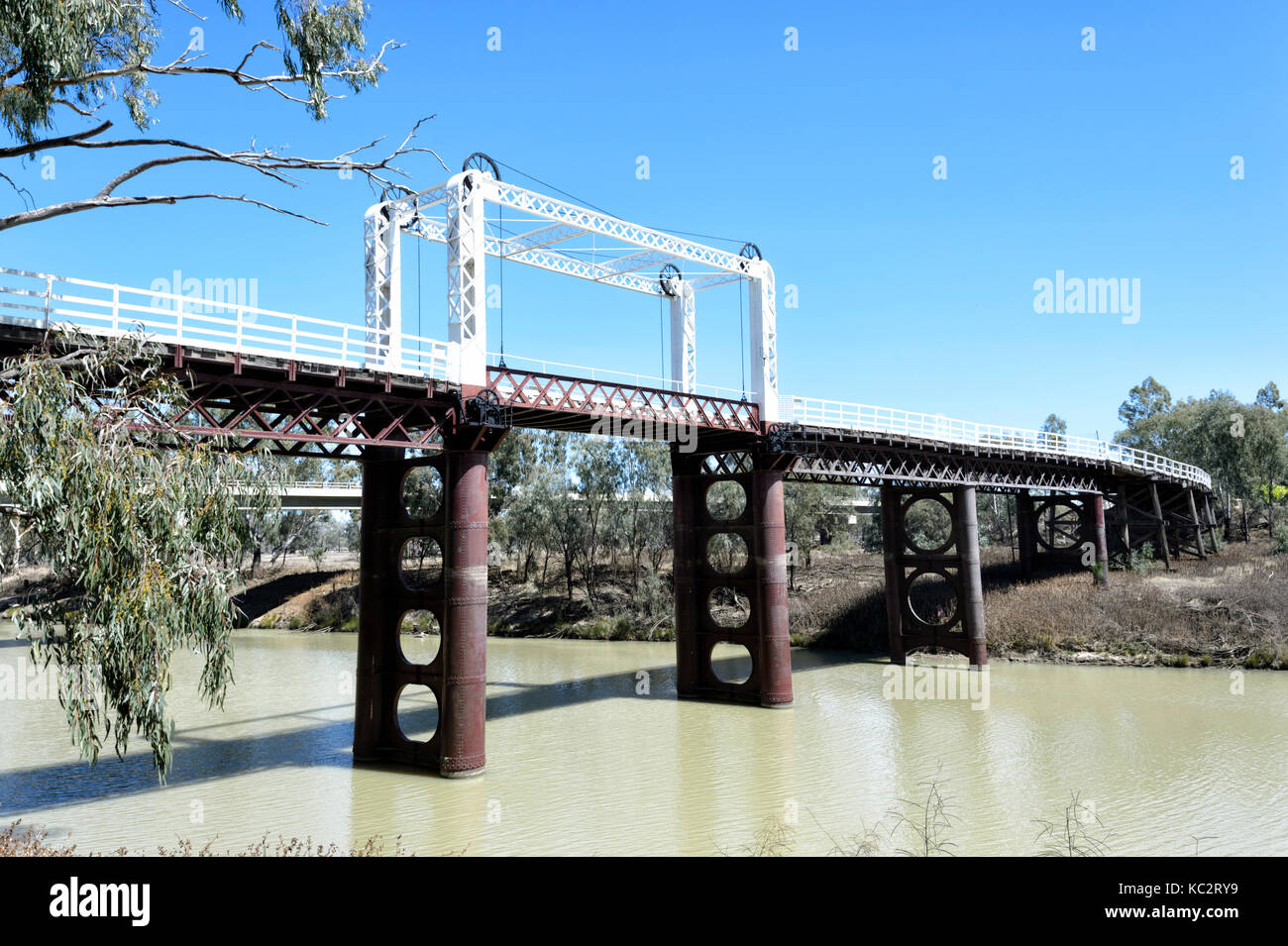 North Bourke Bridge is an old lift-span bridge, Bourke, New South Wales, NSW, Australia - Stock Image
