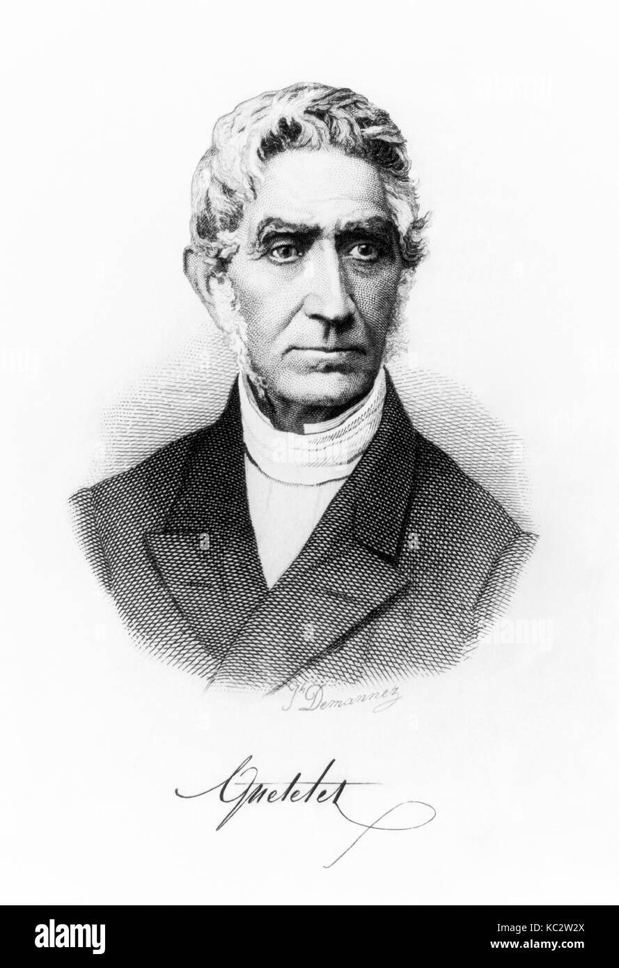 Adolphe Quetelet (1796-1874) Belgian mathematician, astronomer and statistician who published his seminal work on - Stock Image