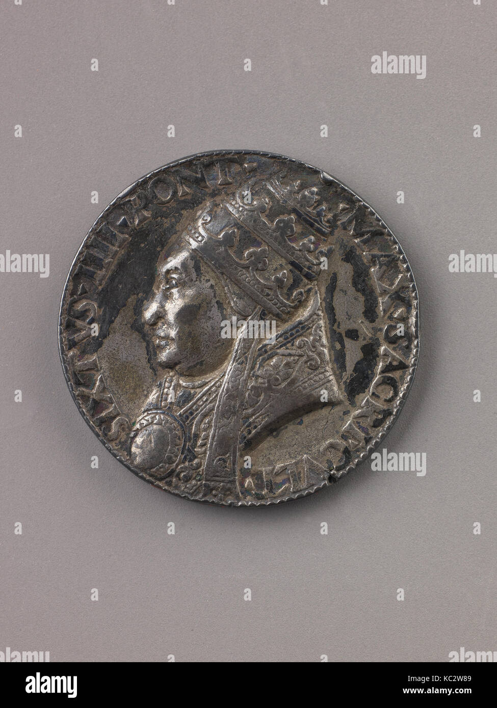 Medal: Sixtus IV, 1471, Silver, Diam. 4 cm, wt. 30.13 g, Medals, Lysippus the Younger (Italian, active Rome, ca. - Stock Image