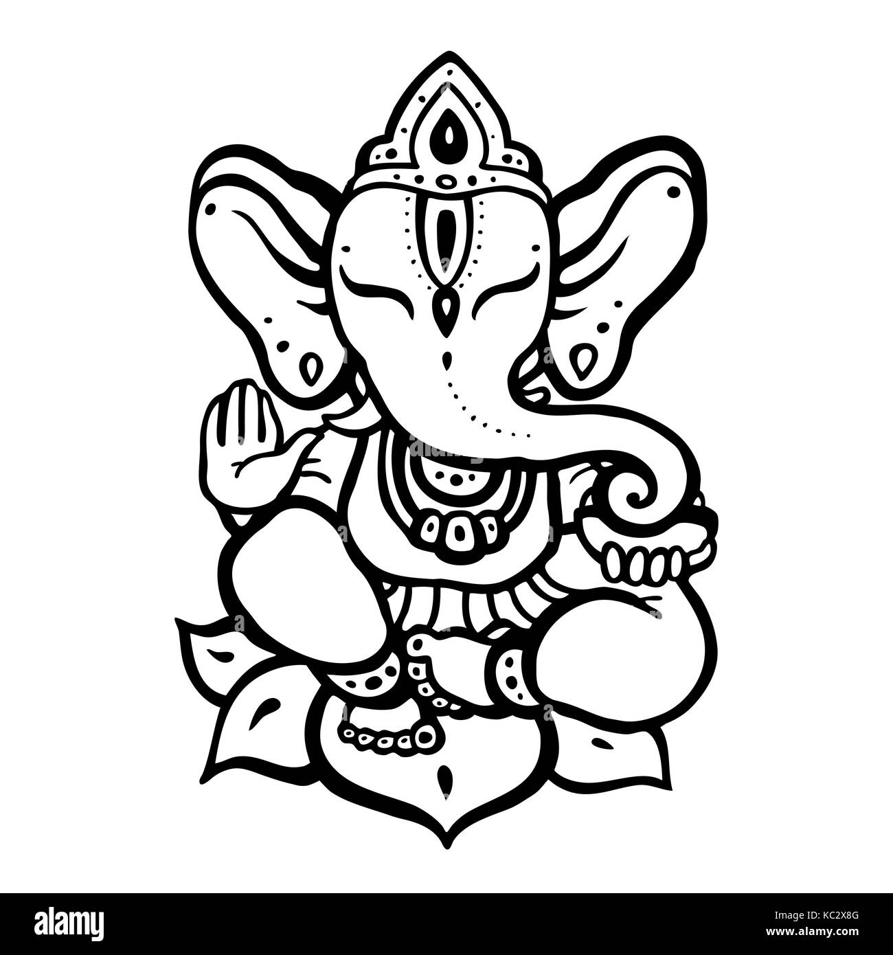 lord ganesh black and white stock