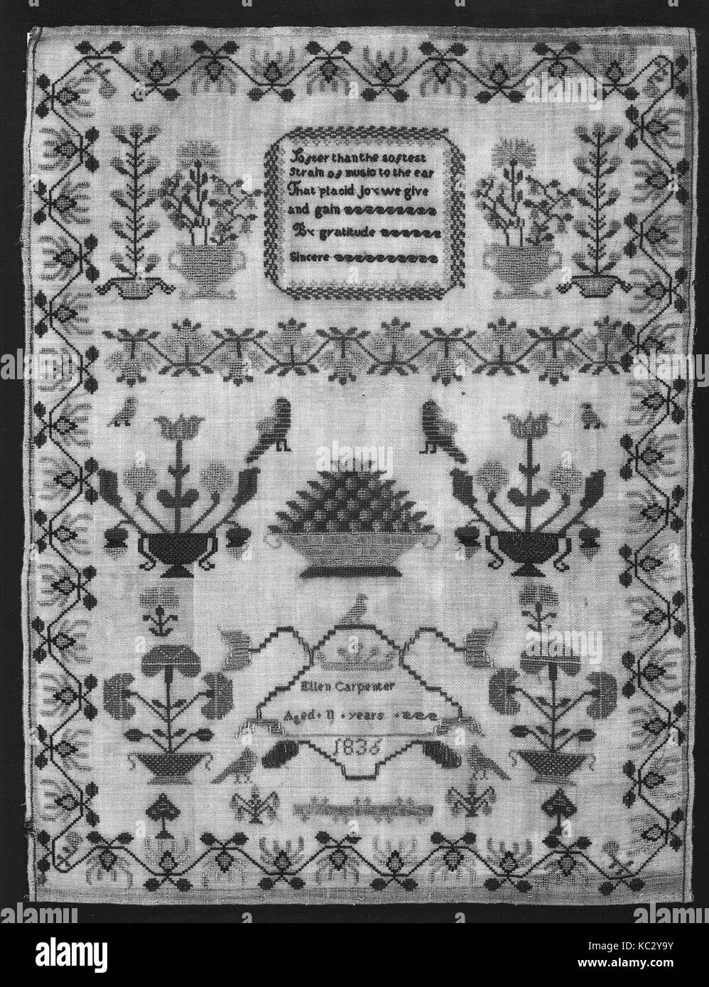 Sampler, 1836, British, Silk on wool canvas, H. 17 3/8 x W. 13 1/4 inches (44.1 x 33.7 cm), Textiles-Embroidered - Stock Image