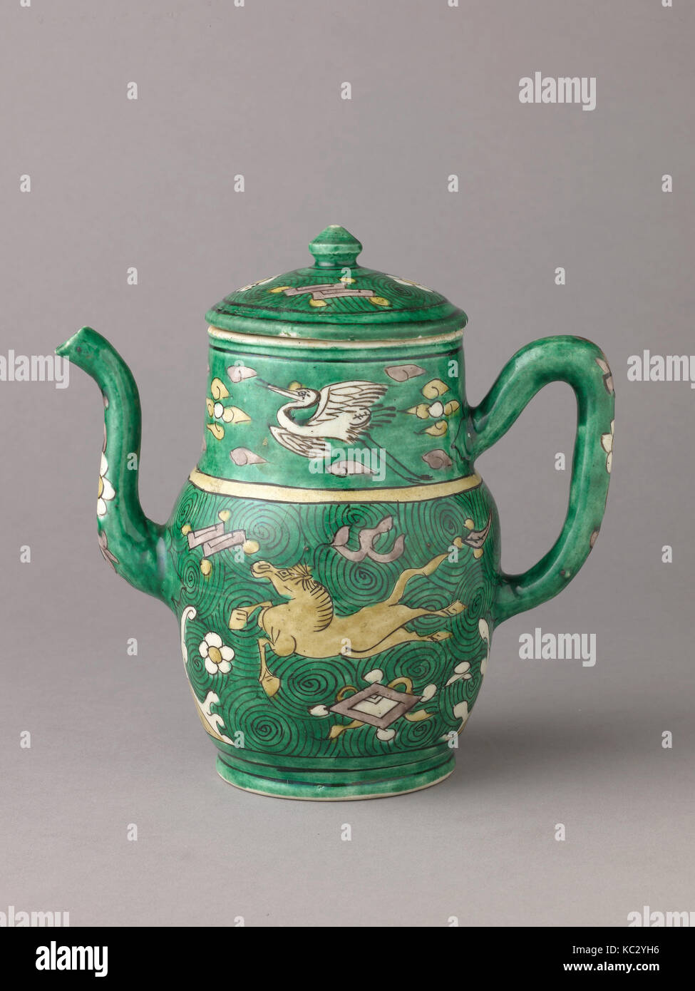 Covered ewer, Chinese, Qing Dynasty, later Transitional period, ca. 1644–83 - Stock Image