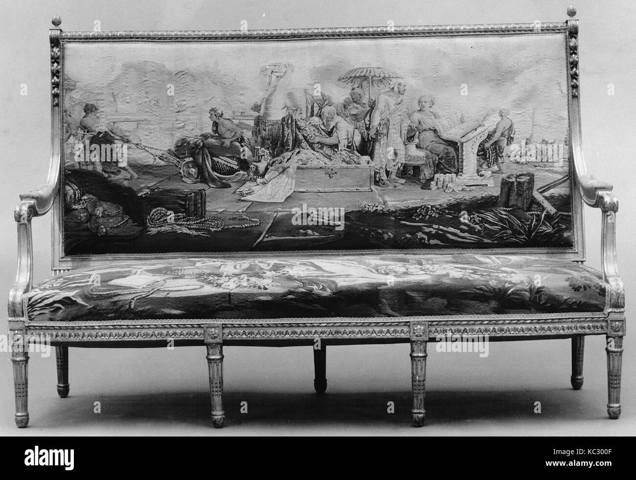 Two upholstery panels, 1787–91, French, Beauvais, Silk and wool (23-25 warps per inch, 9-11 per cm.), a) Back: H. - Stock Image