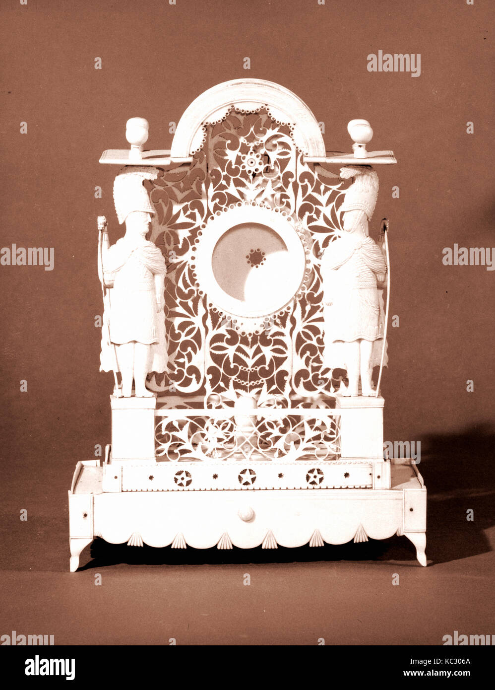 Watch stand, 1800–1820, Possibly made in India; Possibly made in China, Ivory, 10 3/16 x 7 1/2 x 3 7/8 in. (25.9 Stock Photo