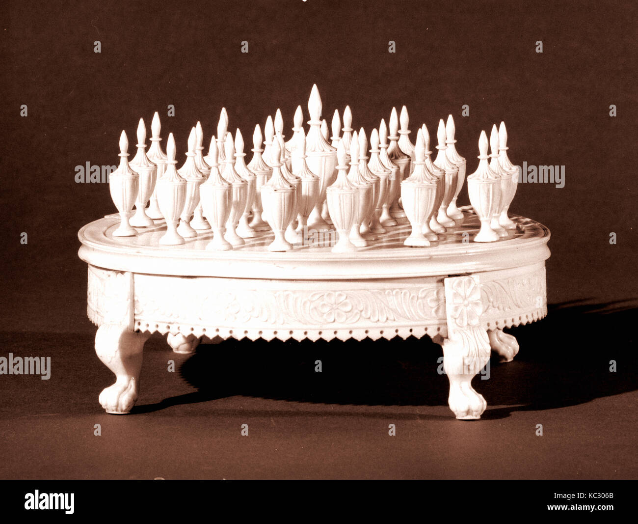 Solitaire Game, 1770–1800, Possibly made in India; Possibly made in China, Ivory, H. 6 1/2 in. (16.5 cm); Diam. Stock Photo