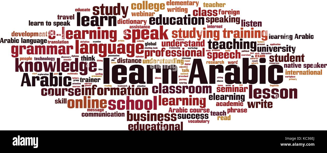Learn Arabic word cloud concept. Vector illustration - Stock Image