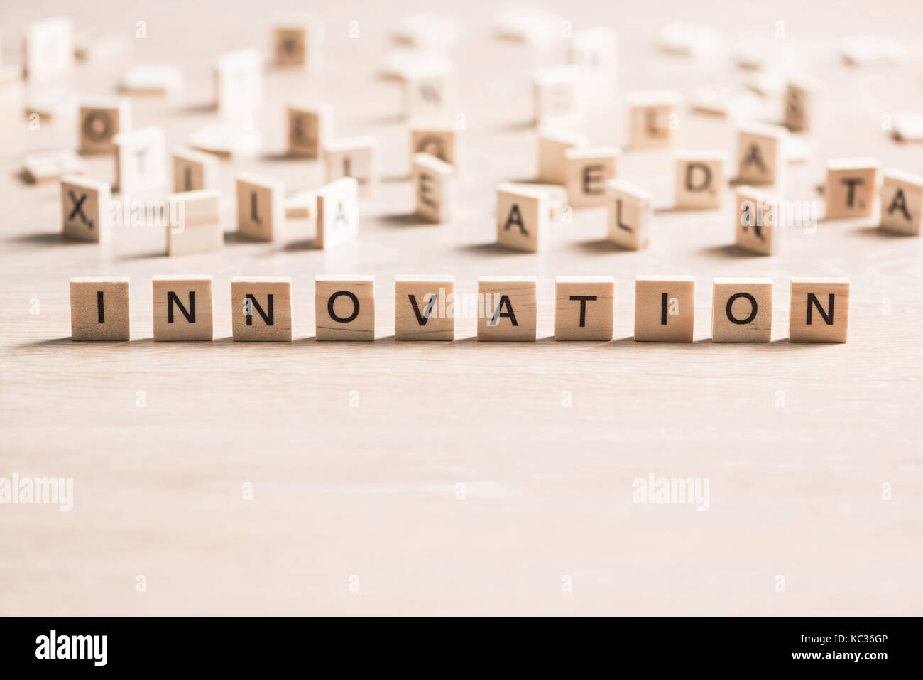 Innovation scrabble word - Stock Image