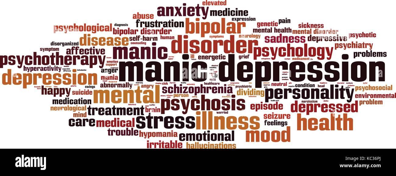 Manic depression word cloud concept. Vector illustration - Stock Vector