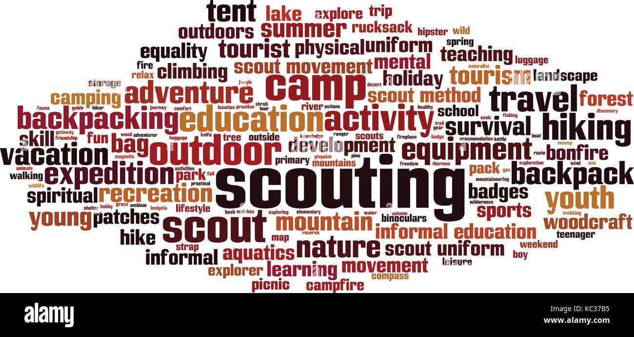 Scouting word cloud concept. Vector illustration - Stock Image