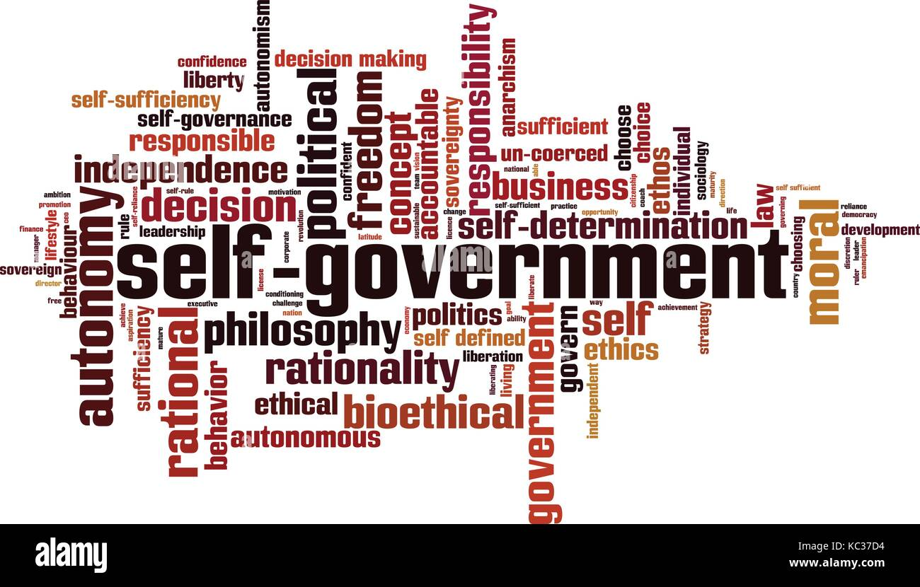 Self-government word cloud concept. Vector illustration - Stock Image