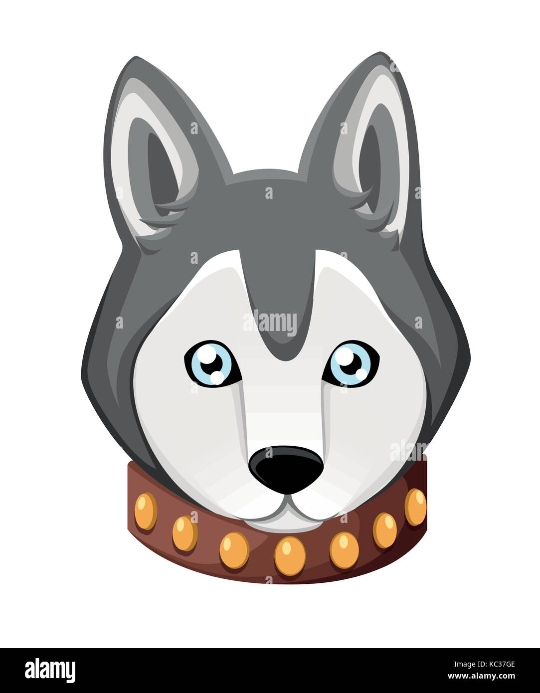 White And Gray Adult Siberian Husky Dog With Blue Eyes . Face of dog. Nice puppy for greeting card, pet shop or - Stock Vector