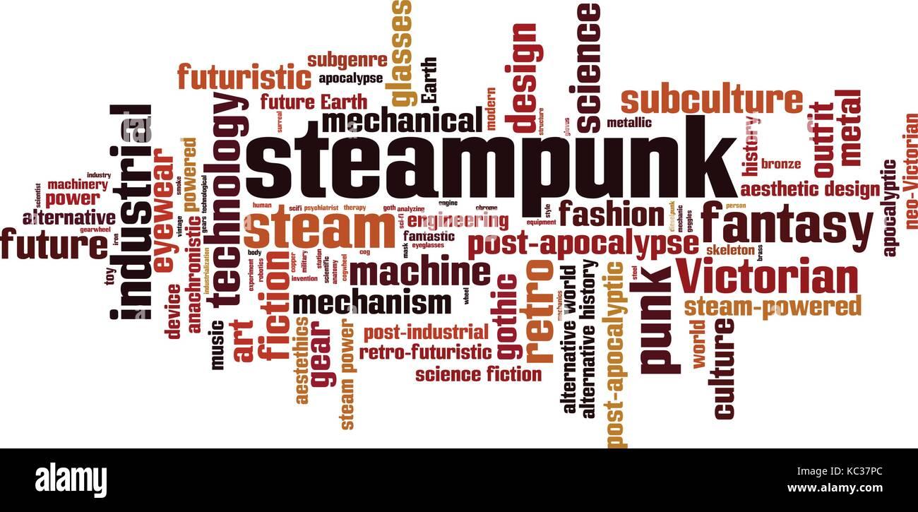 Steampunk word cloud concept. Vector illustration - Stock Vector