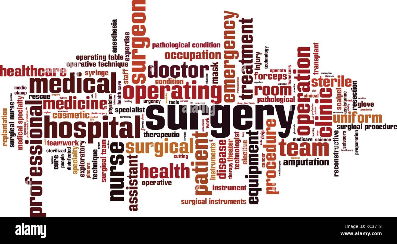 Surgery word cloud concept. Vector illustration - Stock Vector