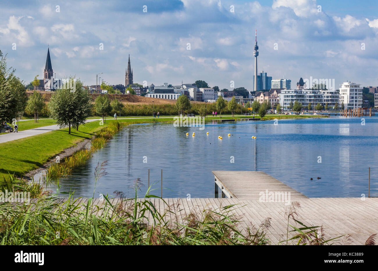 Germany, North Rhine-Westphalia, Dortmund-Hörde, view of the  Phoenix Lake recreational district, which was - Stock Image