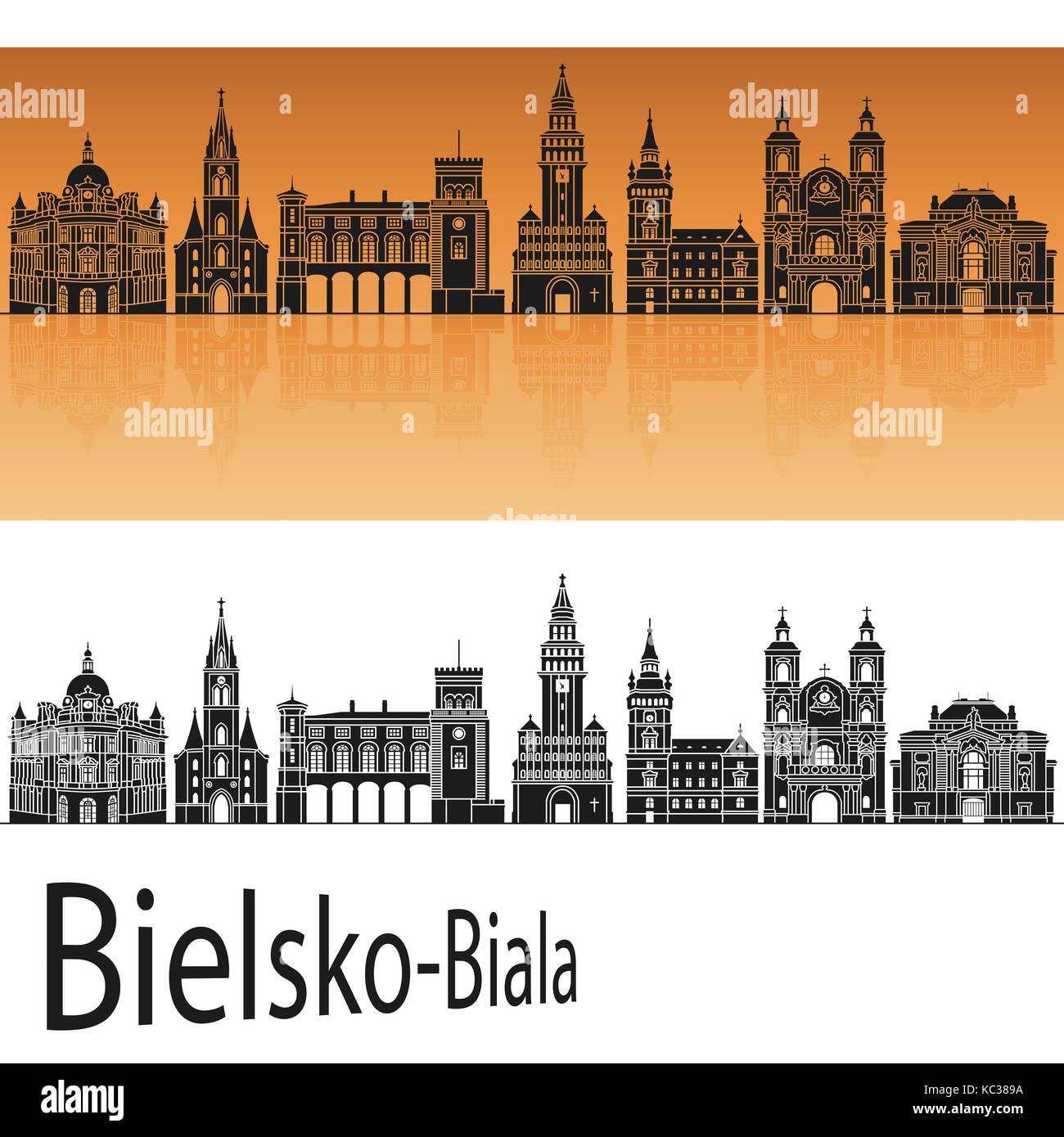 Bielsko-Biala skyline in orange background in editable vector file - Stock Image