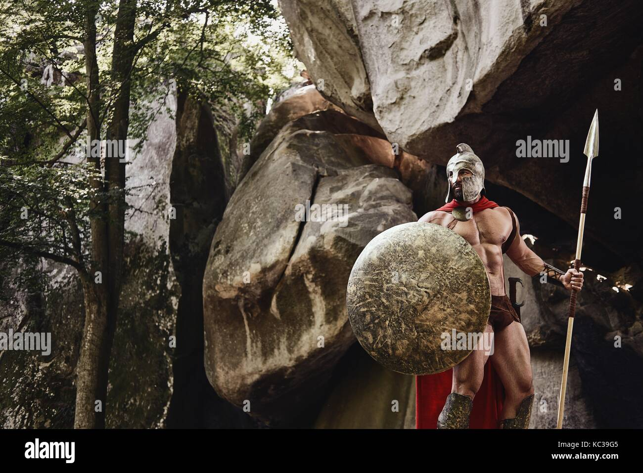 Strong Roman warrior on nature - Stock Image