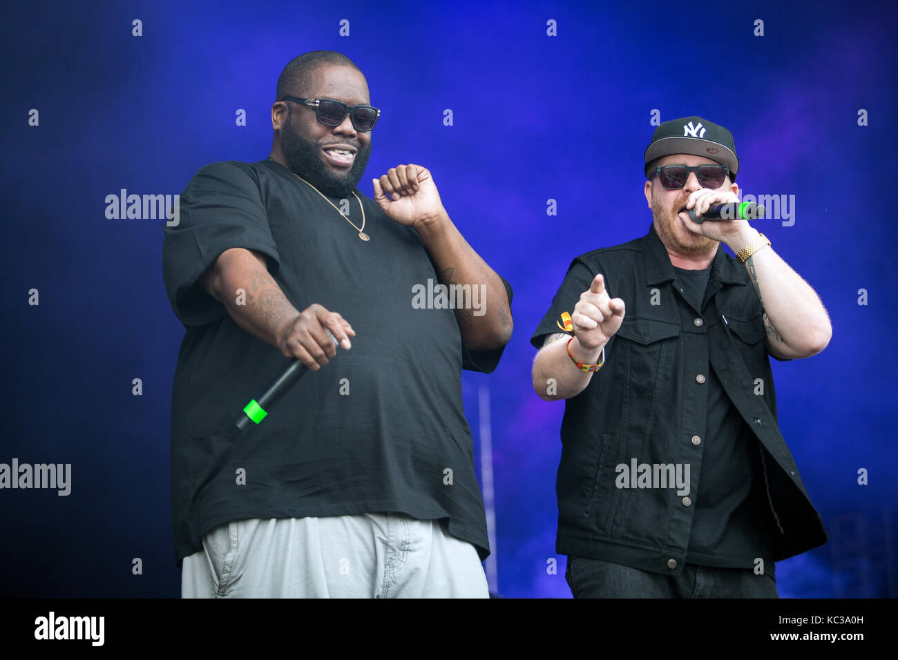 The American hip hop and rap duo Run The Jewels performs a live concert at the music festival Lollapalooza 2015 - Stock Image