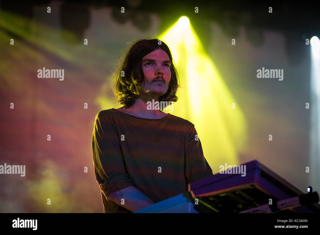 The Australian musical project Tame Impala performs a live concert at the music festival Lollapalooza 2015 in Berlin. Stock Photo
