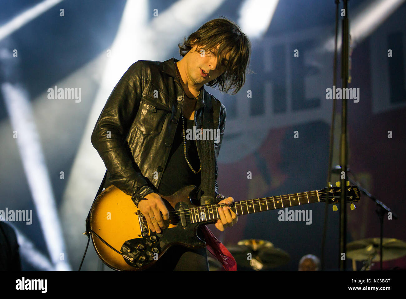 The English rock band The Libertines performs a live concert at the music festival Lollapalooza 2015 in Berlin. - Stock Image