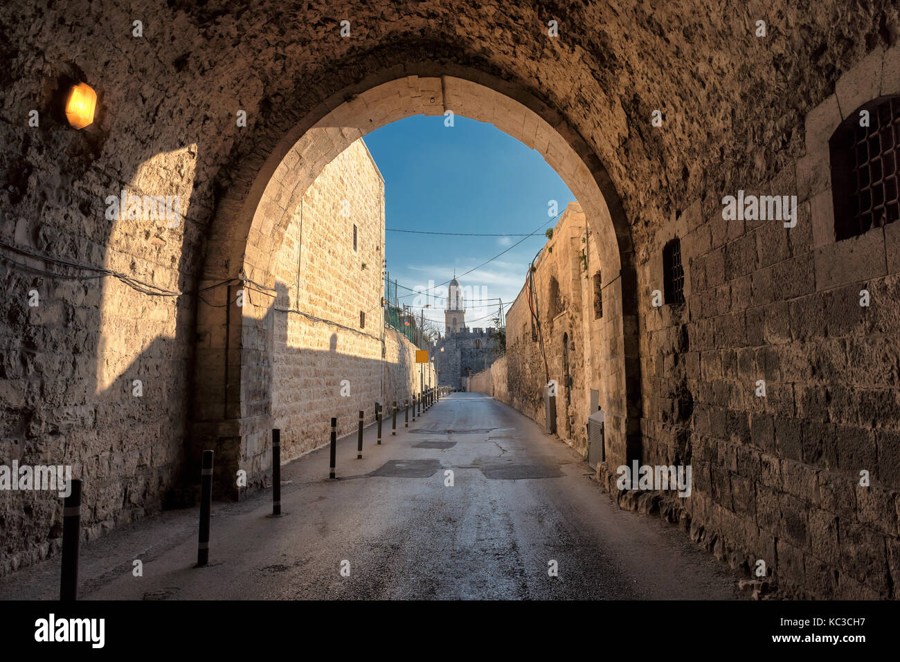 Jerusalem street in Old City, Israel. - Stock Image