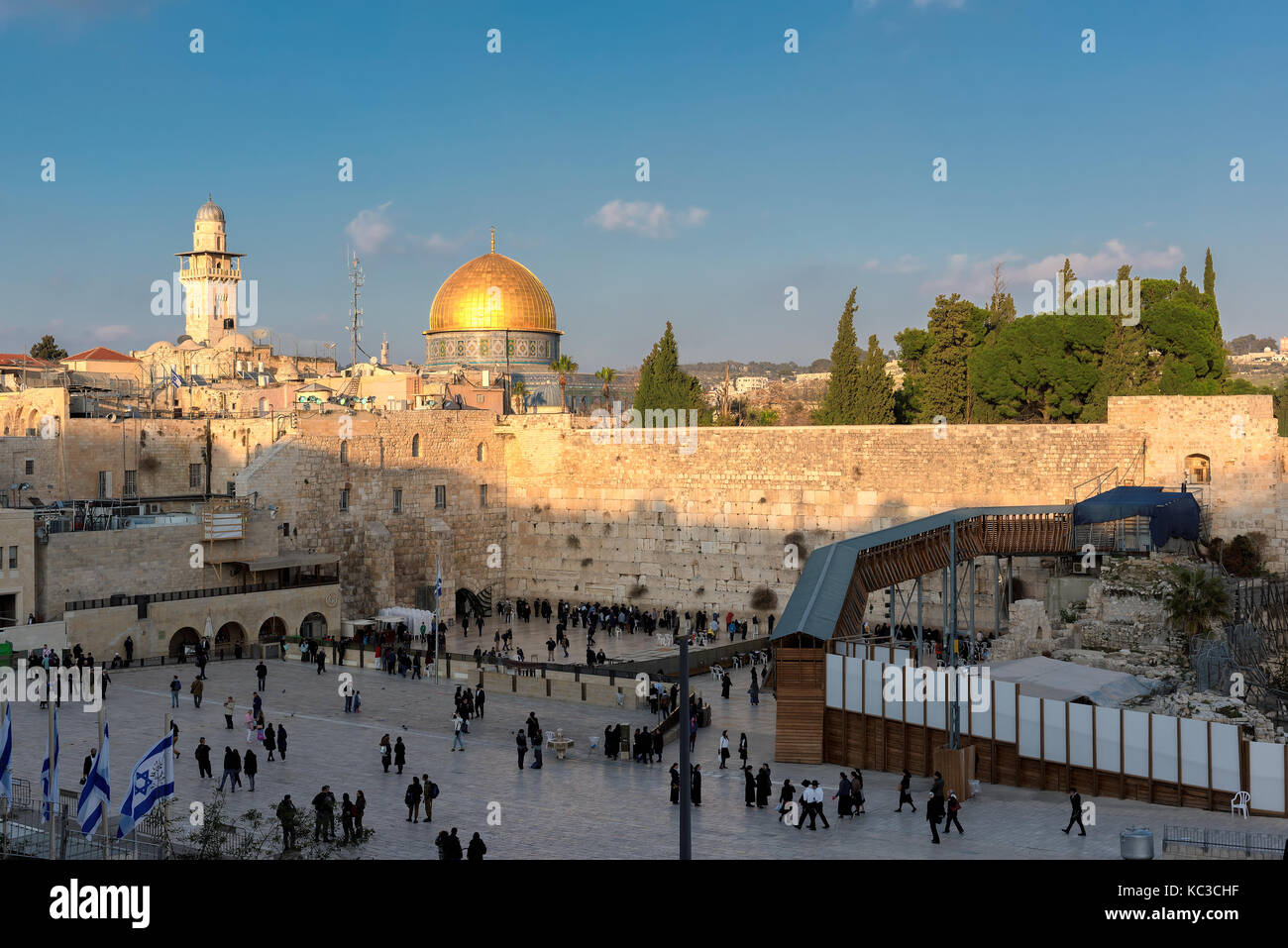 Western Wall at sunset - Stock Image