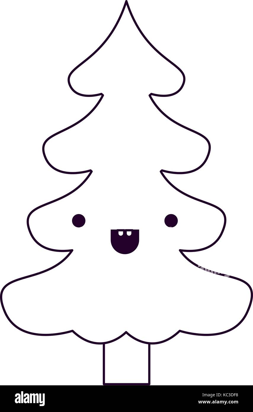 kawaii christmas tree with trunk with smiling expression silhouette ...