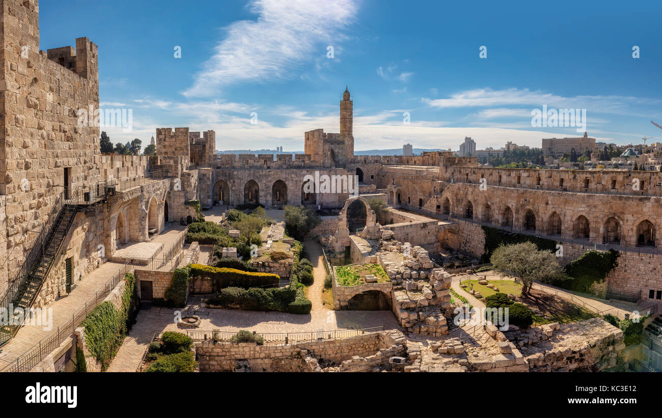 Panorama of David's tower in old city of Jerusalem - Stock Image