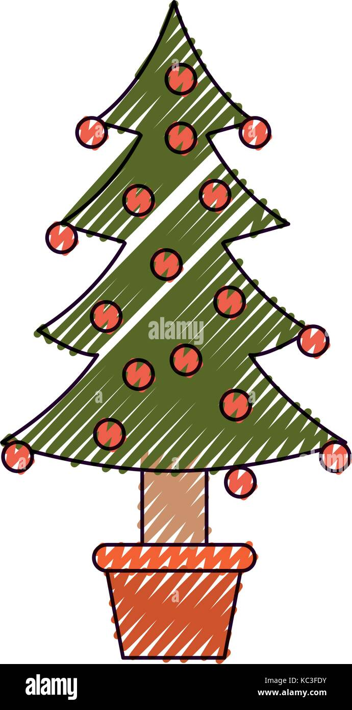 christmas tree decorative garlands in potplant with trunk on color ...