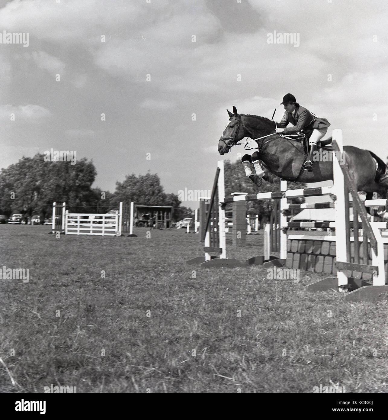 1964, historical, a male show jumper wearing his attire and hat with horse leaps over an obstacle at a outside show - Stock Image