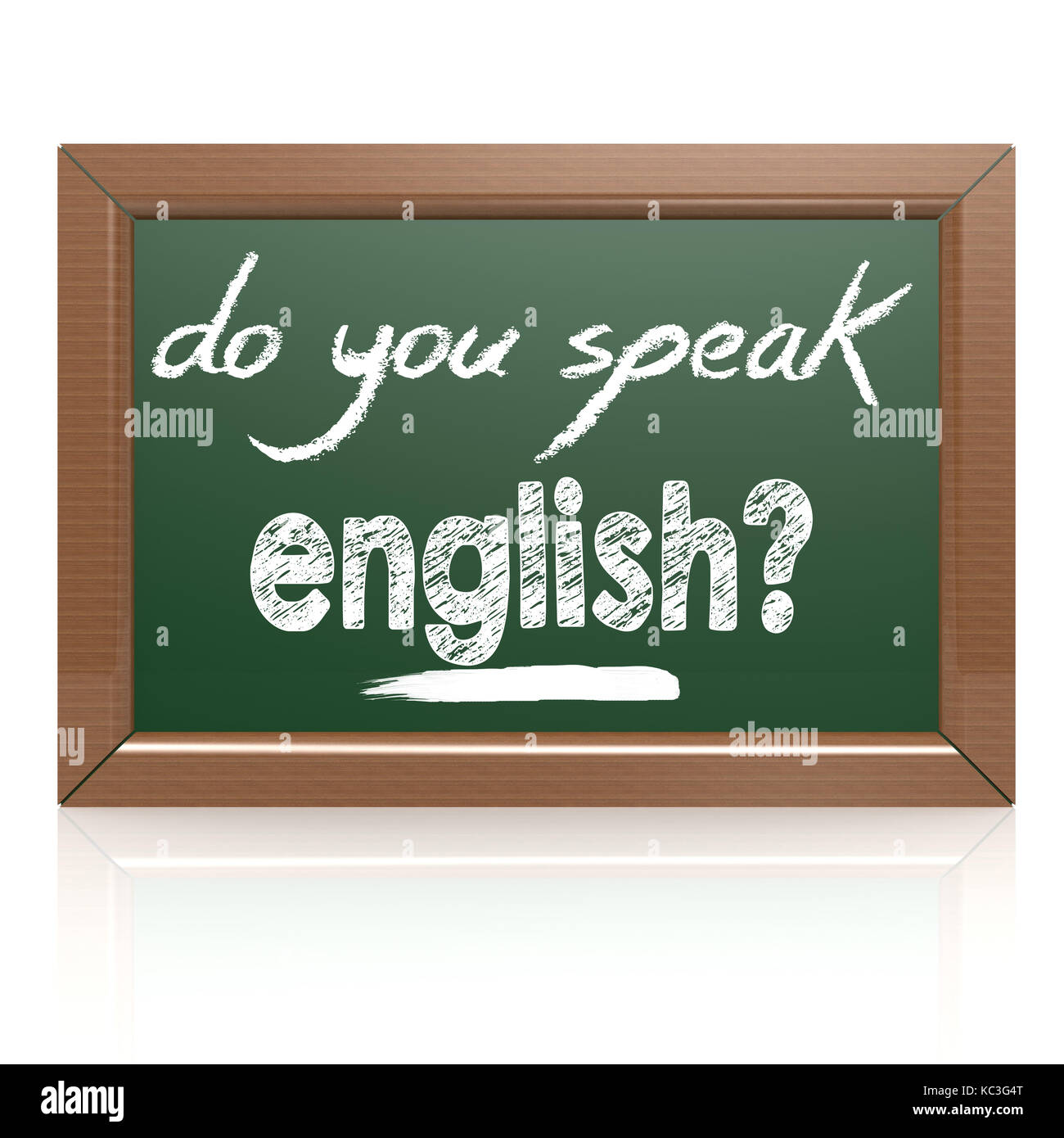 Do you Speak English words on a chalkboard image with hi-res rendered artwork that could be used for any graphic - Stock Image