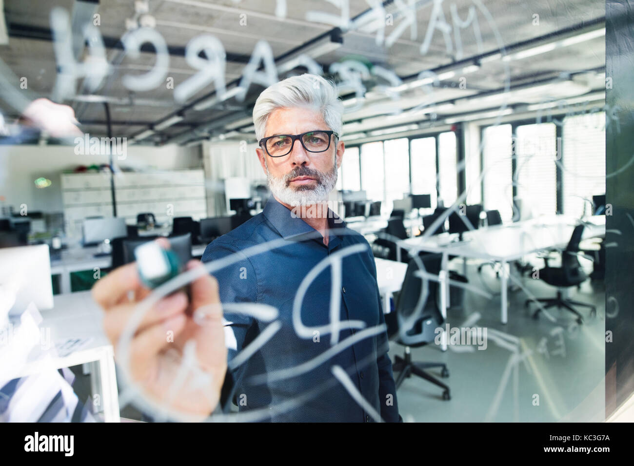 Mature businessman with gray hair in the office. - Stock Image