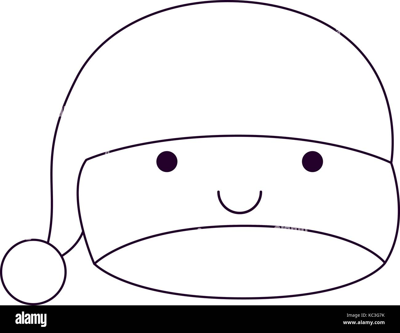 44c04bd5e0664 kawaii christmas hat santa claus happiness expression silhouette on white  background - Stock Image