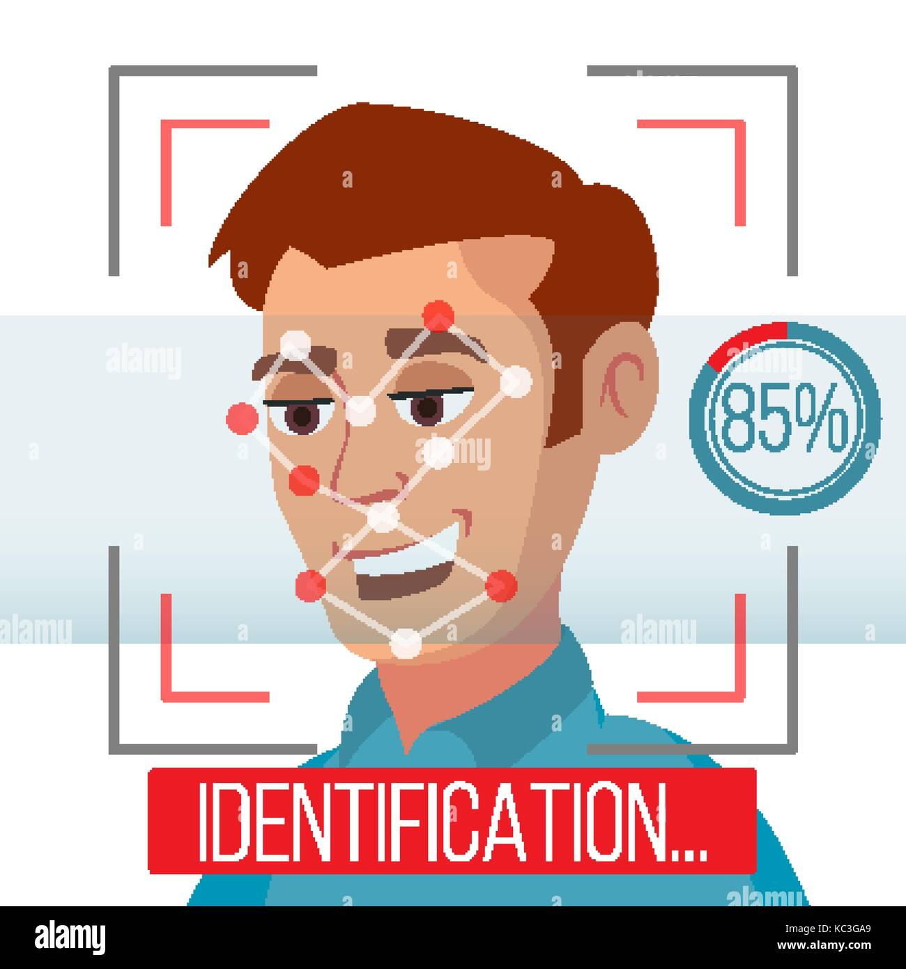 Biometric Facial Identification Vector  Mobile App For Face Stock