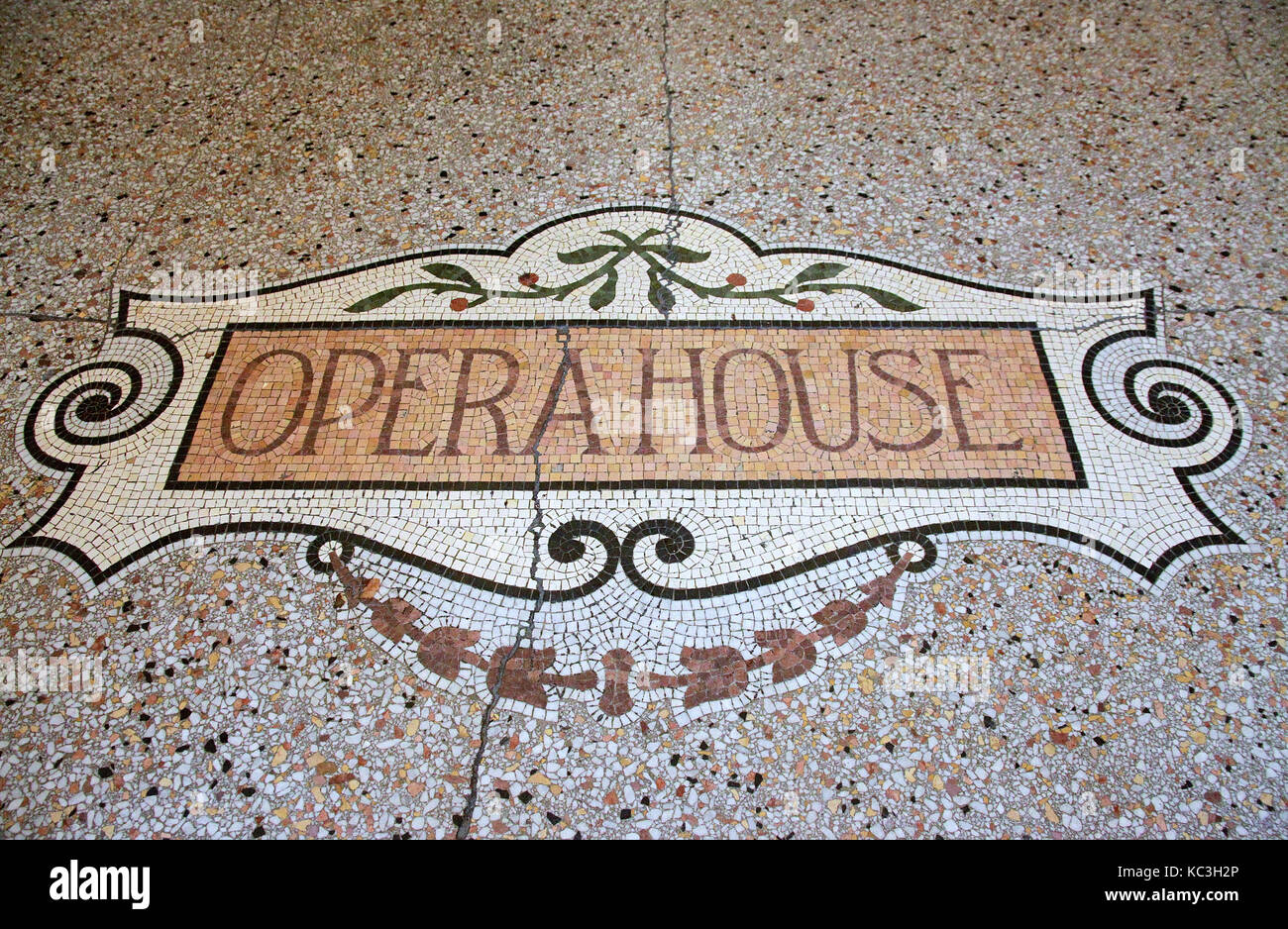 Floor of the entrance to Buxton Opera House in Derbyshire - Stock Image
