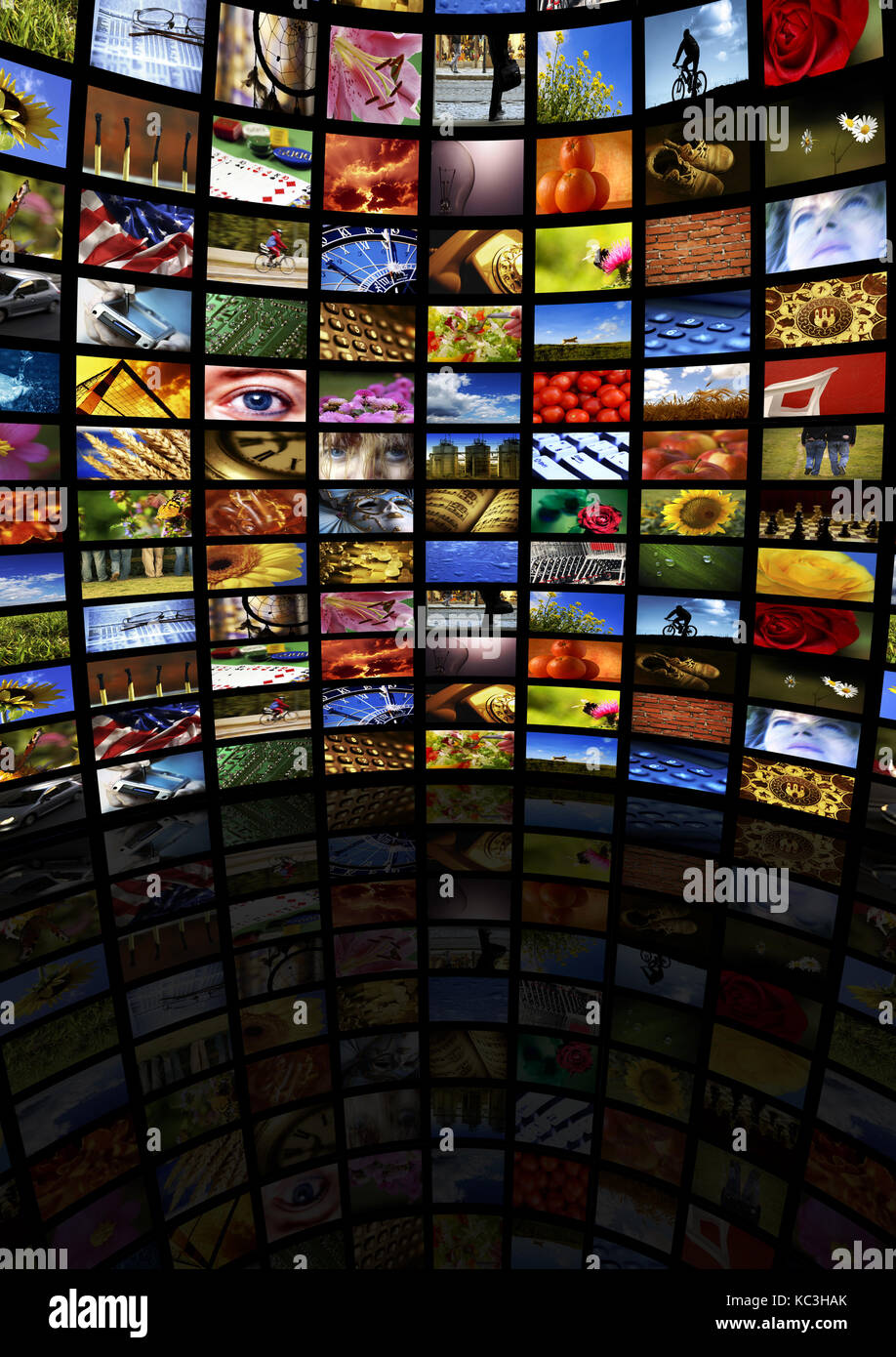 room with many screen with images, internet broadcasting, digital television and new media concept - Stock Image