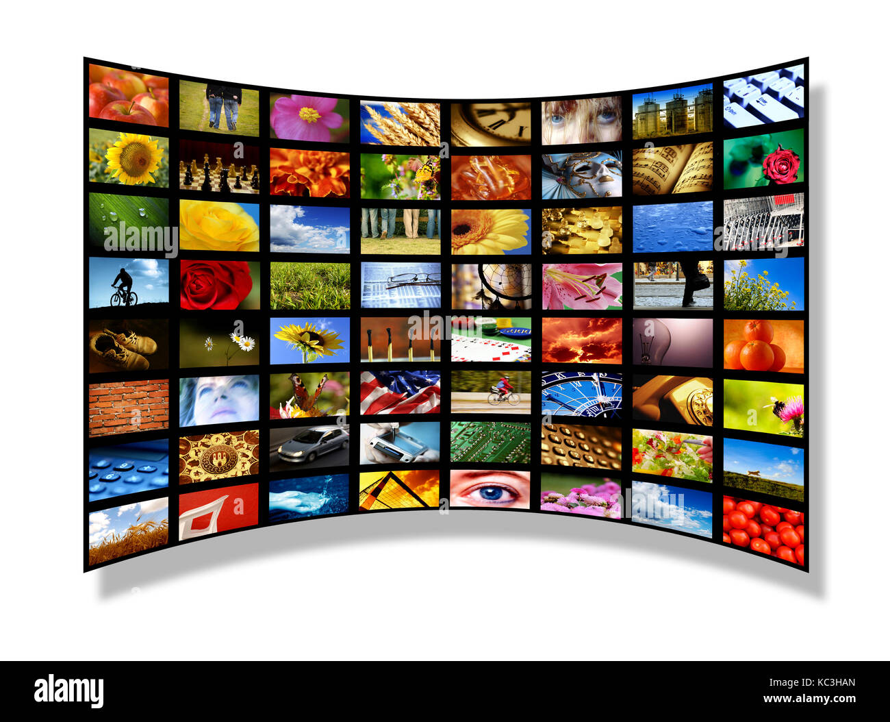 many screens with images - Stock Image