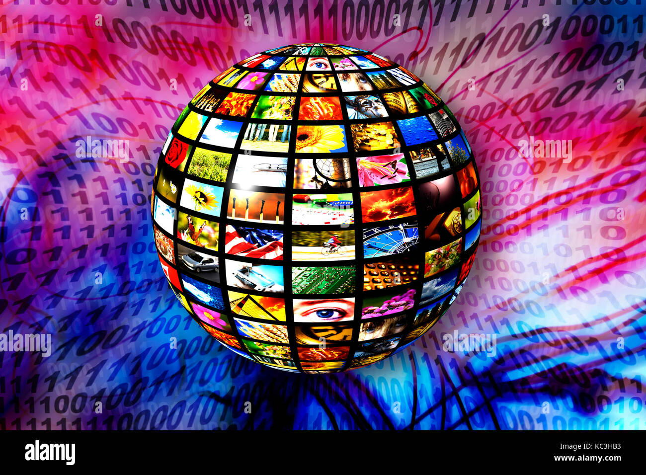 sphere with many screen, digital tv and new media concept - Stock Image