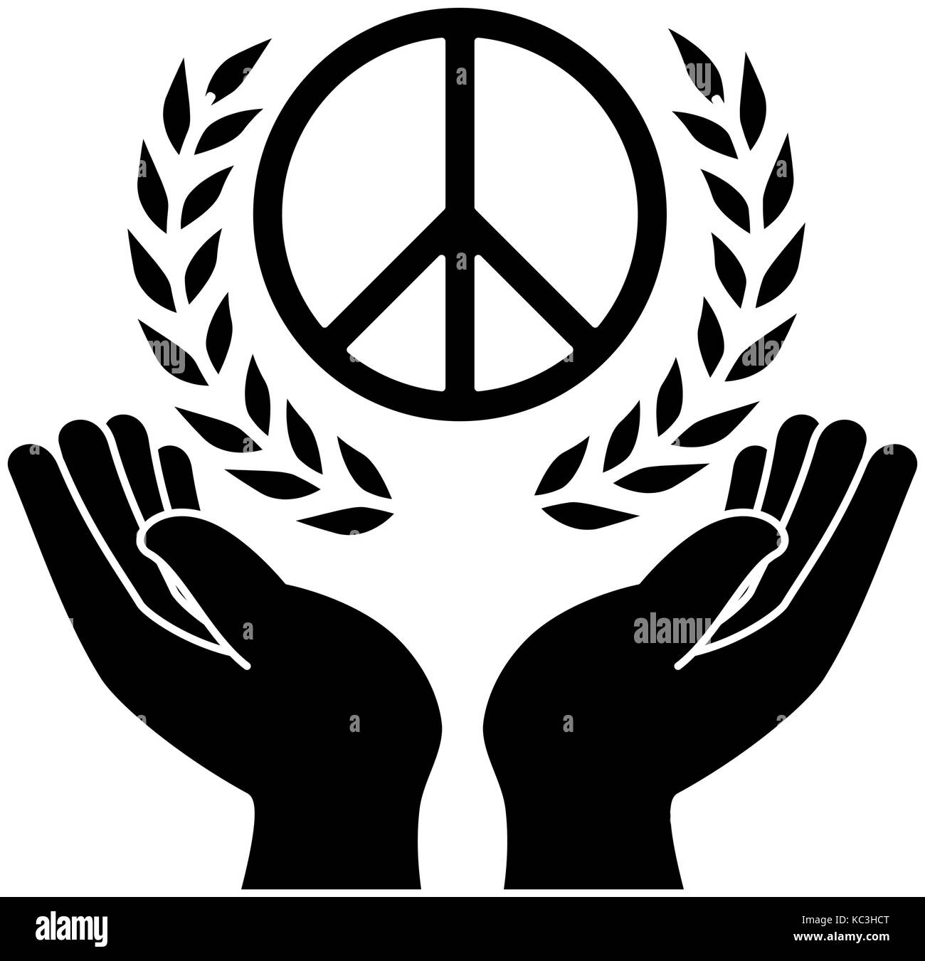 Hands Human Protection With Peace And Love Symbol Vector