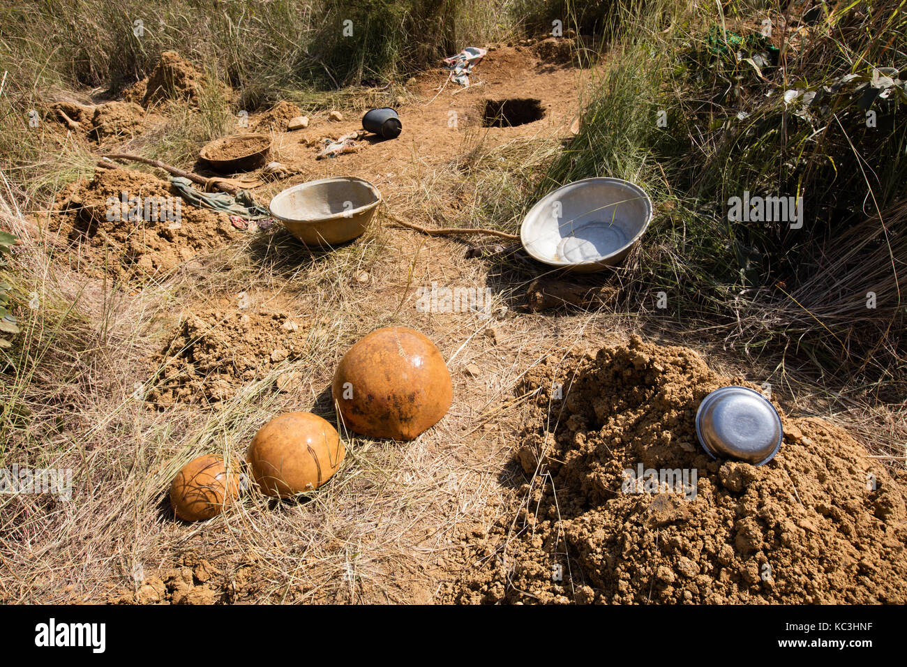 Tools utilized by gold digger, Burkina faso - Stock Image