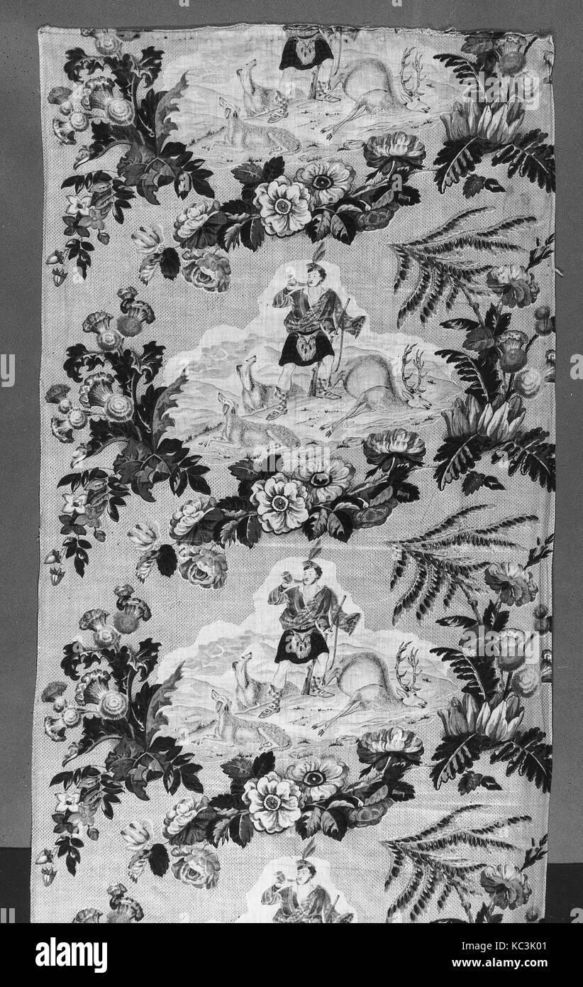 Piece, ca. 1852, British, Cotton, L. 23 5/8 x W. 91 inches, Textiles-Printed - Stock Image