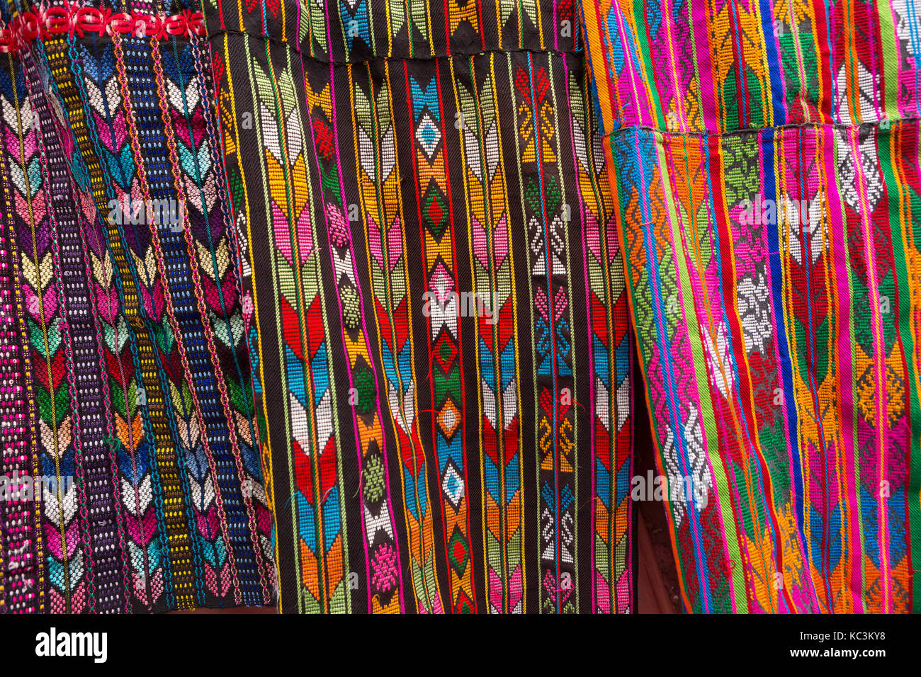 February 5, 2016 Chichicastenango, Guatemala: illustrative editorial closeup details of mayan traditional textile - Stock Image
