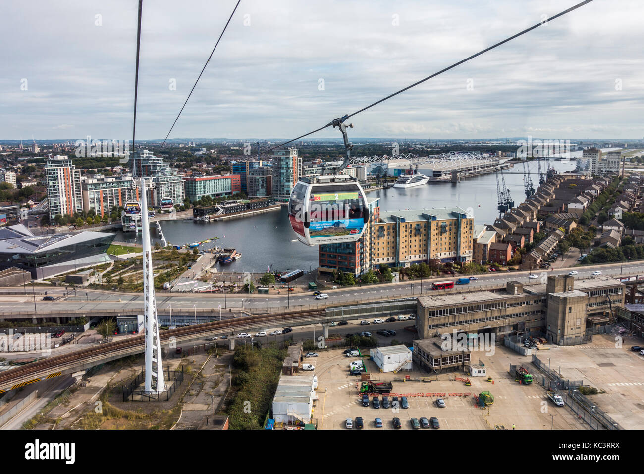 Emirates Air Line, mid-air, cable car ride across the River Thames, from Greenwich Peninsular to Royal Victoria - Stock Image