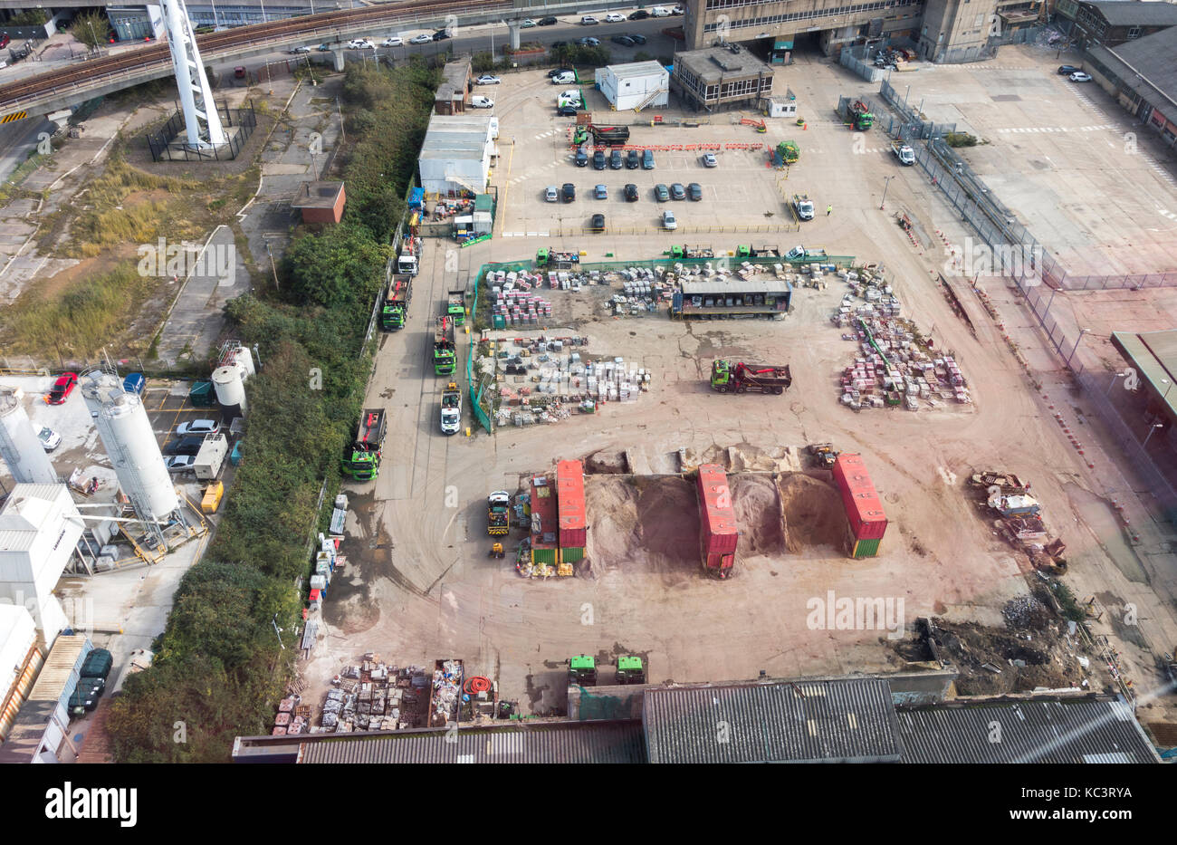 Overhead shot of a Greenwich building materials yard, in connection with nearby building works for Docklands regeneration, - Stock Image