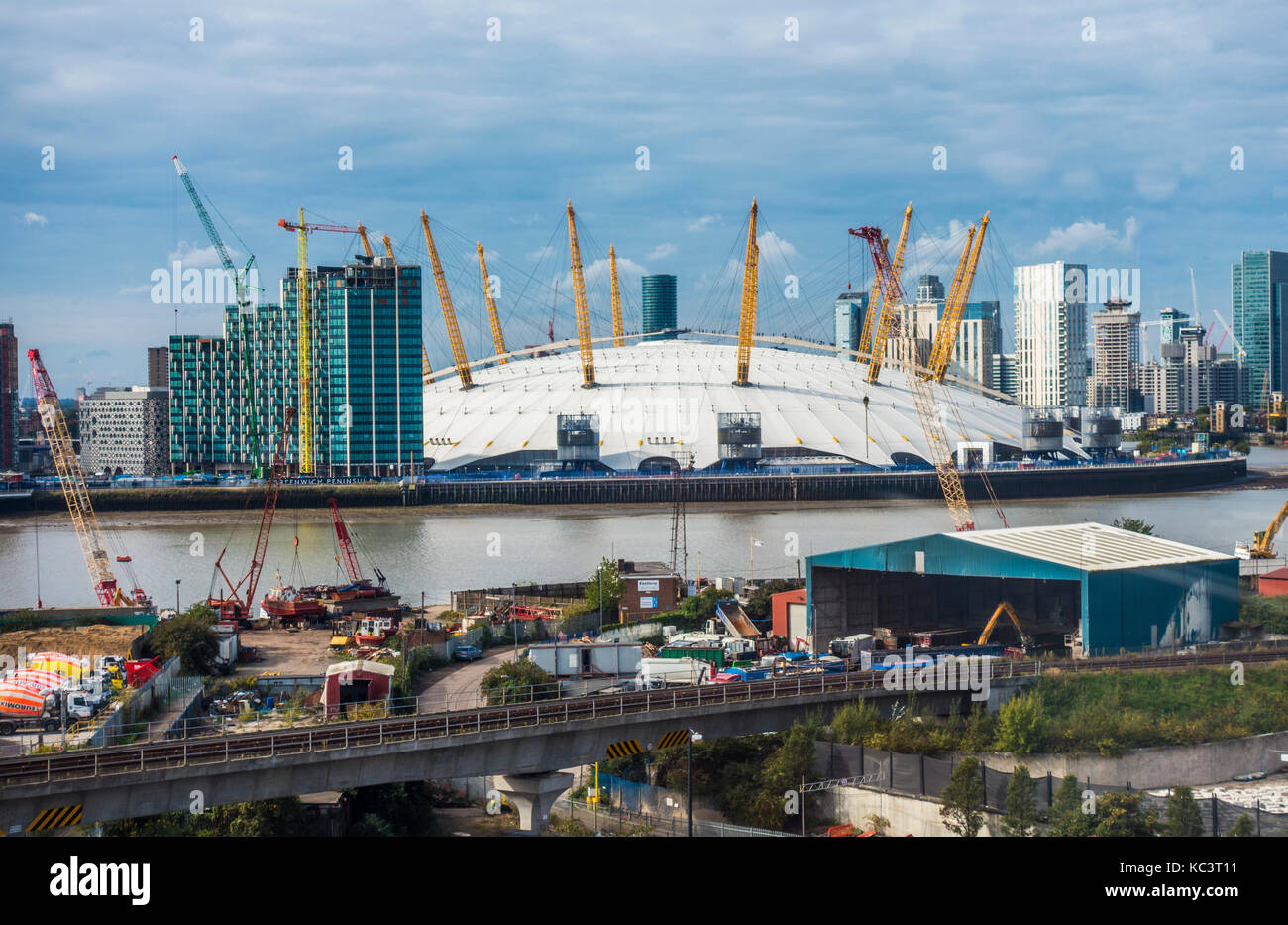 Next to the River Thames, opposite the O2 Arena in North Greenwich, the premises of Docklands Waste Recycling Limited, - Stock Image