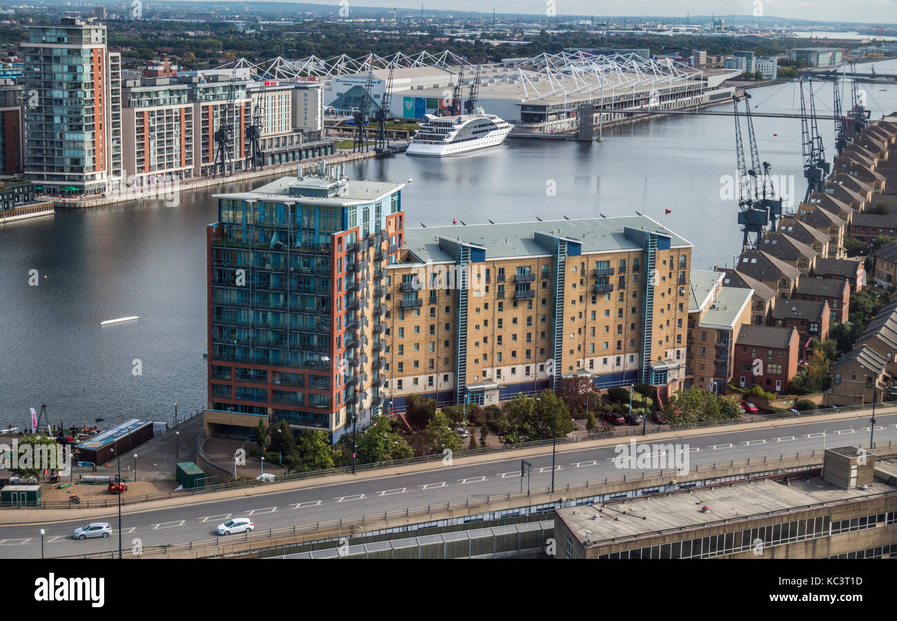 View from above of the River Thames, hotels, apartment blocks and houses. in North Greenwich over to Royal Victoria - Stock Image