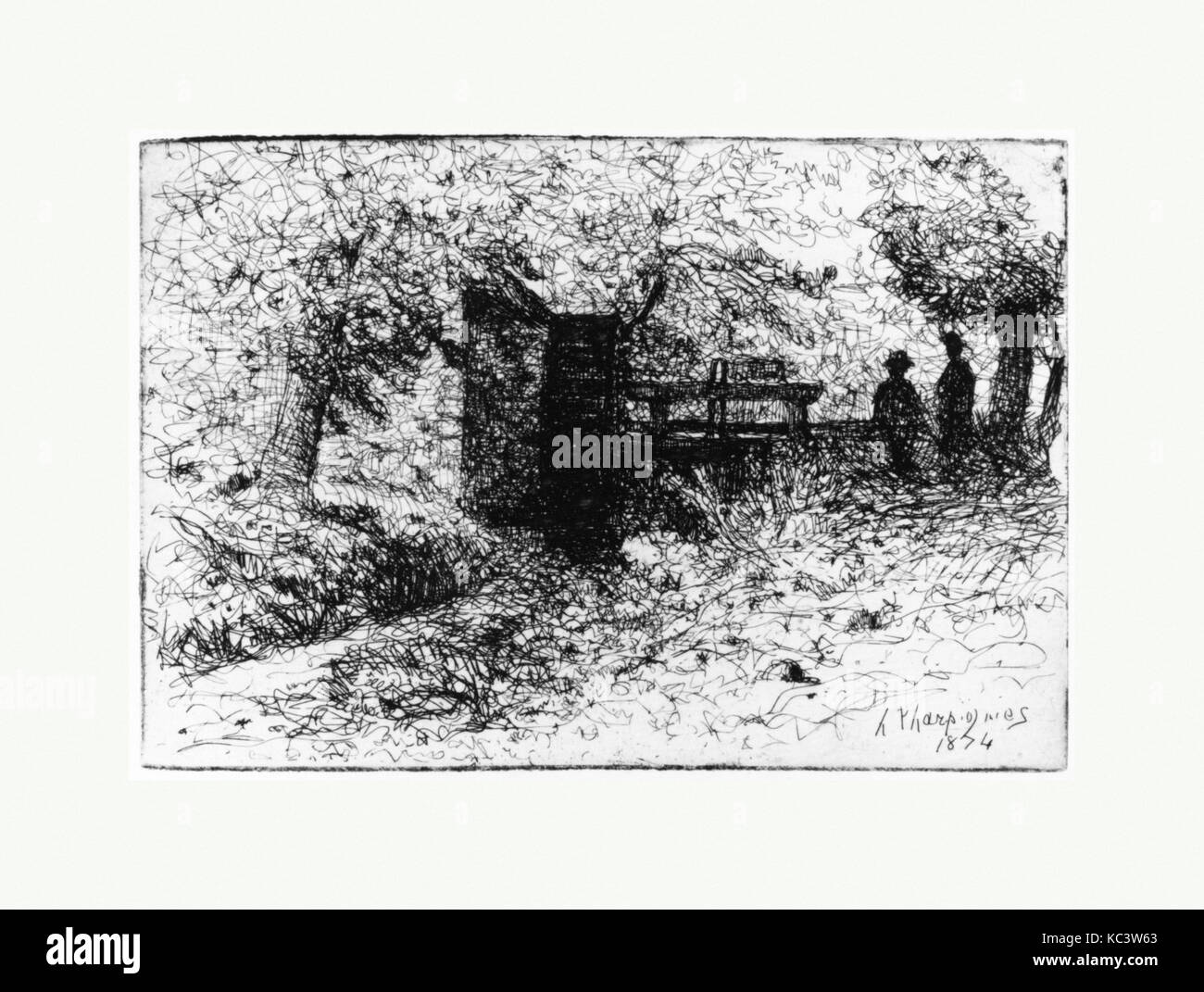 Two Figures by a Small Watergate, Henri-Joseph Harpignies, n.d - Stock Image