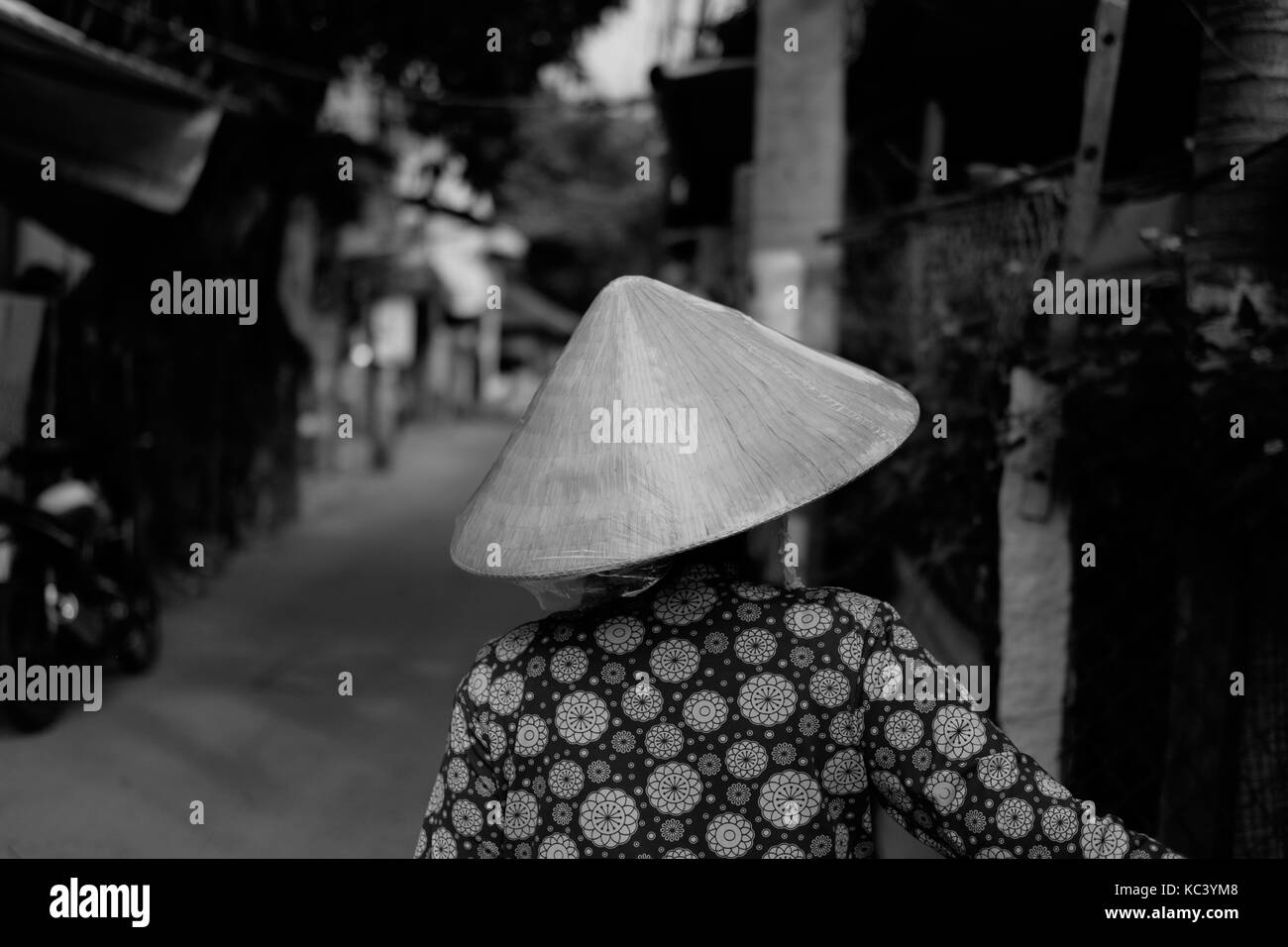 The woman sells fresh fish on the street. Black and white. - Stock Image