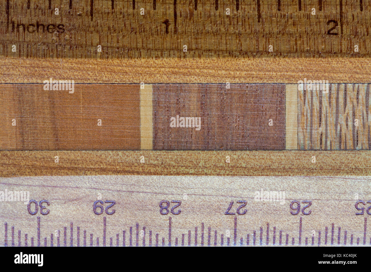 Detail of part of wooden ruler made with New Zealand timbers - woods shown are (left to right) miro, rata and rewarewa - Stock Image