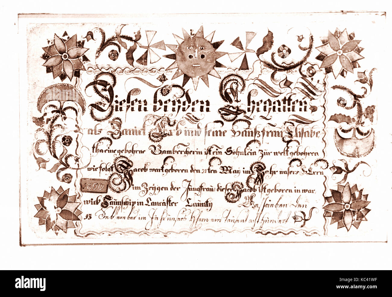 Birth Certificate 1800 Made In Lancaster County Pennsylvania