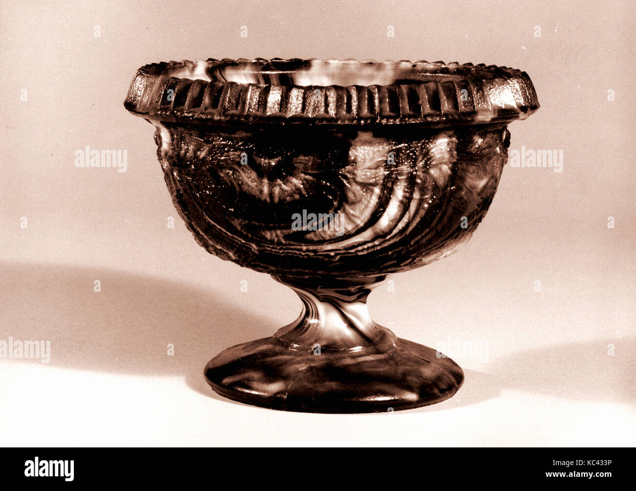 Bowl, 1880–90, Made in England, Pressed purple marble glass, Glass - Stock Image